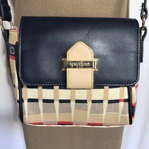 Spartina 449 Purse Cross Body Leather Linen Plaid
